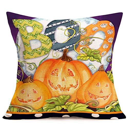 Asamour Halloween Pumpkin Pillow Covers Autumn Fall Decor Jack-o-lantern with BOO Quote Words Cotton Linen Throw Waist Pillow Case Decorative Cushion Cover Thanksgiving Pumpkins Leaf Pillows 18''x18''