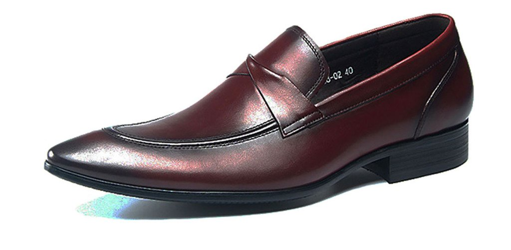 Jiu du Men's Classic Leather Loafers Formal Oxford Pointed Toe Black Slip On Dress Shoes Wine red Leather Size 11 EU44