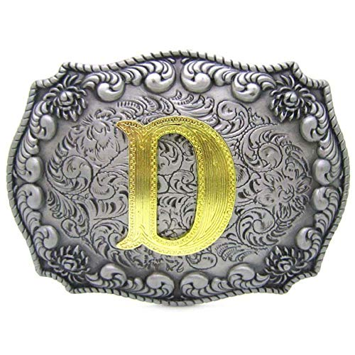 Western Belt Buckle Initial Letters ABCDEFG to Y-Cowboy Rodeo Silver Large Belt Buckle for Men and Women (D) Upgrade