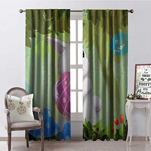 Hengshu Happy Easter Day Easter Eggs Cute Rabbit Window Curtain Drape Customized Curtains W108 x L108