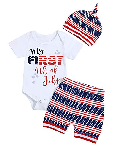 Newborn Baby Boys Girls Clothes My First 5th of July Romper Star Stripe Short Pant with Hat Independence Day Outfits Set(3-6 Months) - Day Hat Independence