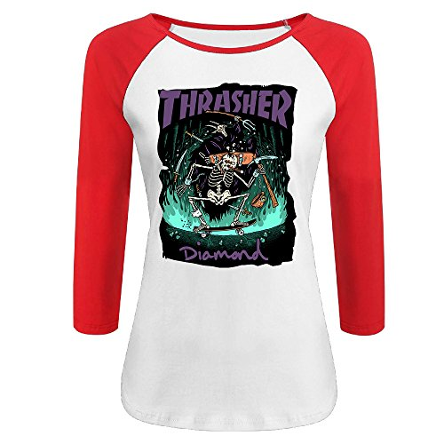 Liying Women's Thrasher Flame Skateboard Three-Quarter Sleeve Cotton Tshirts L -