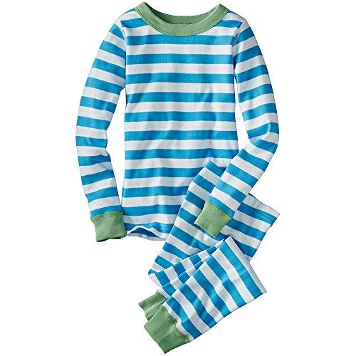 Hanna Andersson Big Boy Long John Pajamas In Organic Cotton, Size 140 (10), Splash/White