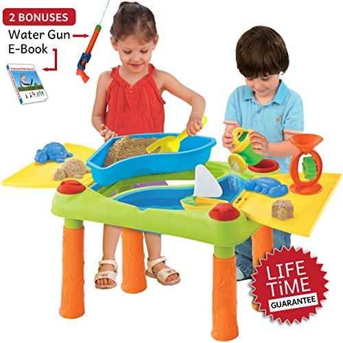 Sand and Water Table Activity Play Set Table with Lid, Includes 17 Piece Beach Play Set and water gun