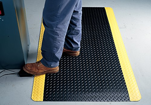 American Floor Mats UltraSoft Diamond Plate Yellow Safety Border 3' x 6' Anti-Fatigue 15/16 inch Thickness Comfort Mat by American Floor Mats (Image #2)