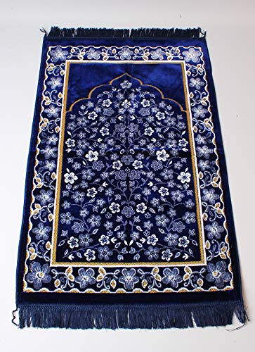 (Château Islamic Prayer Mat Turkish Sajadah Design Islamic Prayer Rug - Silk High Qualitiy Turkish Velvet Namaz Sajjadah)