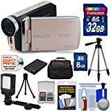 Minolta MN50HD 1080p HD Video Camera Camcorder (Rose Gold) 32GB Card + Battery + Tripods + Case + LED Light + Kit