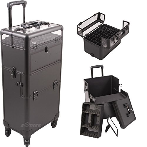 Sunrise I31061 2-in-1 4 Wheels Professional Multifunctional Nail Artist Makeup Rolling Trolley Case with Foundation Holder, Removable Tray with Dividers and Spacious Storage for Large Tools and Accessories (Black Smooth) by SunRise