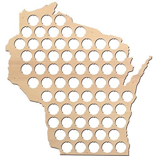 (Wisconsin Beer Cap Map - 16x16 inches - 68 caps - Beer Cap Holder Wisconsin - Birch Plywood)
