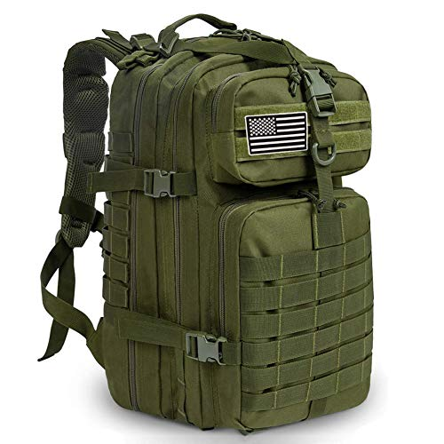 MEWAY 42L Military Tactical Backpack Large Assault Pack 3 Day Army Rucksacks Molle Bug Out Bag Outdoors Hiking Daypack Hunting Backpacks (Army Green)
