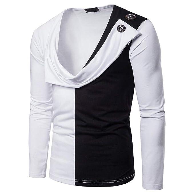 Blusa de Hombre de BaZhaHei, Camiseta de Manga Larga Delgada de Patchwork Casual para Hombre