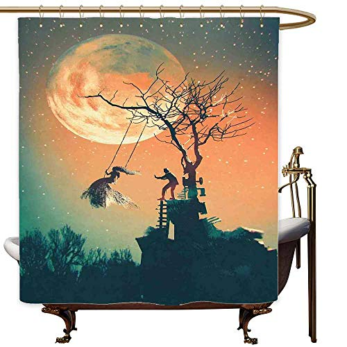 SKDSArts Shower Curtains Hooks Brushed Nickel Fantasy World,Spooky Night Zombie Bride and Groom Lady on Swing Under Starry Sky Full Moon,Orange Teal,W65 x L72,Shower Curtain for Girls Bathroom]()