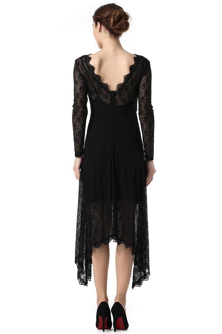 Cocktail Dresses Women\'s Sexy Deep V Neck Evening Dresses Open Back Irregular Hem Lace Dress (XL, A Black)