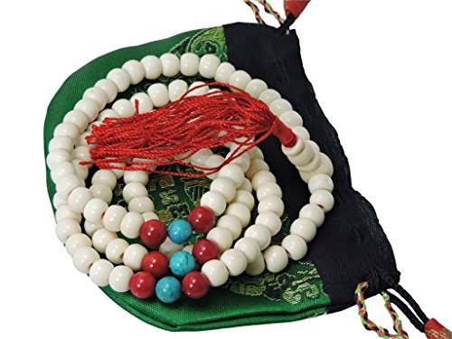 Tibetan Yak Bone Mala with Turquoise and Coral Spacers BM134