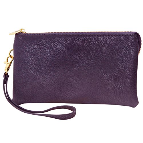 Wristlet Purse and Adjustable or Bag Leather Vegan Wrist Shoulder Clutch Straps Chic Small Includes Crossbody Purple Humble TFwAqz0xz