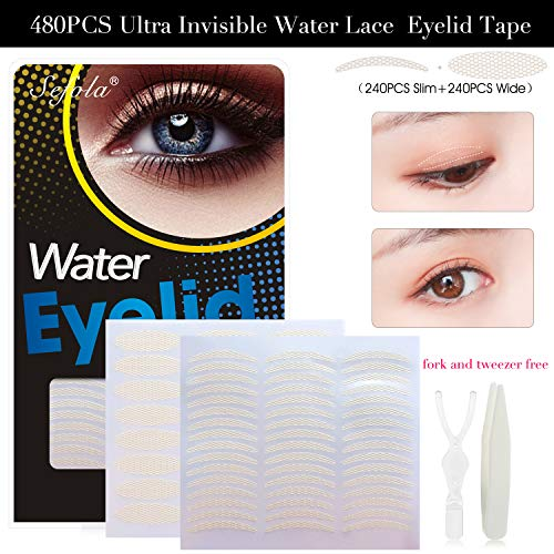 480PCS Ultra Invisible Water Eyelid Tape Breathable Lace Double Eyelid Stickers Eyelid Lift Strip, Instant Eye Lift Without Surgery, Perfect for Hooded, Droopy, Uneven, or Mono-eyelids (Eyelid Surgery Lift)