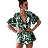 Asskdan Women's Fashion V Neck Leaves Print Short Sleeve Jumpsuit Rompers (Green, L)