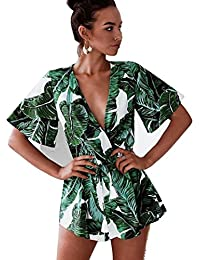 Women's Fashion V Neck Leaves Print Short Sleeve Jumpsuit...