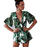 Asskdan Women's Fashion V Neck Leaves Print Short Sleeve Jumpsuit Rompers (Green, L)