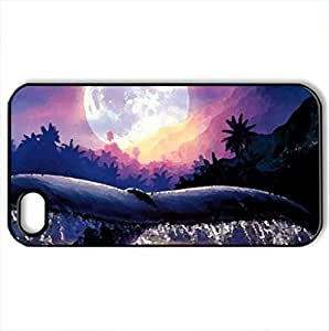 ANCIENT MYSTERIES - Case Cover for iPhone 4 and 4s (Whales Series, Watercolor style, Black)
