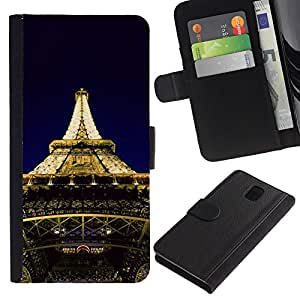 KingStore / Leather Etui en cuir / Samsung Galaxy Note 3 III / Arquitectura Torre Eiffel Luces