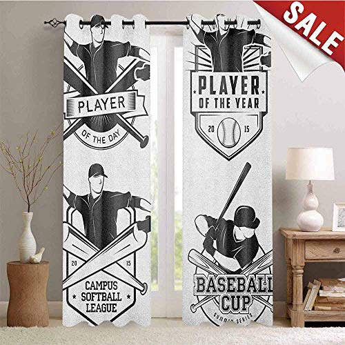 Pattern Valance Victory - Sports Kitchen Gromets Curtain and Valances Set Drapes for Bedroom, Vintage Baseball and Softball Labels with Championship Winner Victory Theme Pattern Darkening Curtains, Charcoal Grey White, W96 x