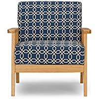 Baxton Studio Francis Retro Mid Century Patterned Fabric Armchair, Navy Blue