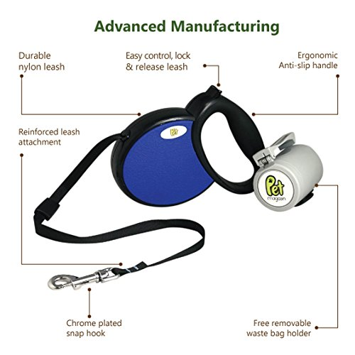 Pet Magasin Retractable Dog Leash - Durable Dog Lead with Ergonomic Design & Smooth Leash Retraction (Medium, Dark Blue)