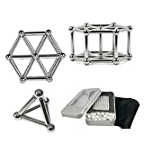 Magnetic Build Set Bulk Magnets Sculpture Desk Stress Toys Fidget Puzzle Creativity Boost Miniature Toys with Magnet Stick and Metal Ball 63 Pack Silver