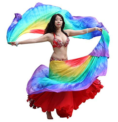(Winged Sirenny 2pcs Half Circle Belly Dance 8 mommes Double Veils, 2.7mx1.1m(3'x43