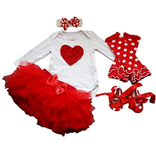 AISHIONY 5PCS Baby Girlsu0027 Newborn Tutu Onesie Outfit Princess Party Dress  (S For 3 6 Months, Love Heart C)