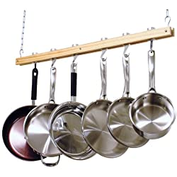 Cooks Standard Ceiling Mounted Wooden Pot Rack, Single Bar, 36-Inch