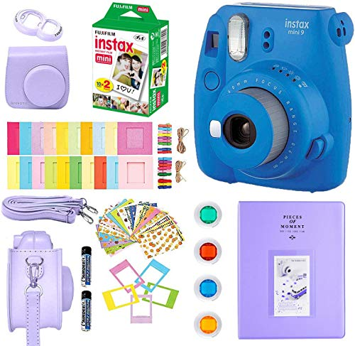 Fujifilm Instax Mini 9 Instant Camera + Fuji Instax Film (20 Sheets) + Accessories Bundle Includes; Carrying Case, Album, Selfie Lens, Frames and Stickers + More (Cobalt Blue)