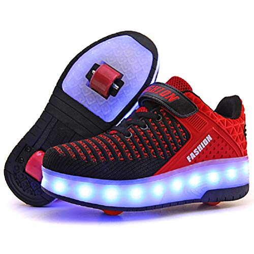 Ufatansy LED Shoes USB Charging Flashing Sneakers Light Up Roller Shoes Skates Sneakers with Wheels for Kids Girls Boys(12.5 M US =CN30, Double Wheel, Red)