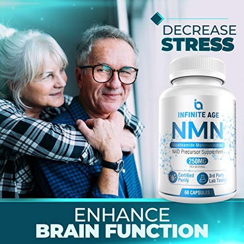 51FQM49YLJL - Infinite Age PURE NMN (250mg) | Nicotinamide Mononucleotide Supplement | Support Optimal Brain Function| NAD Anti-Aging Support | Supports Health Energy Production I 60 Capsules