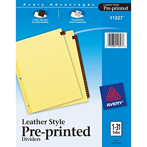 Avery Red Leather Pre-Printed Tab Dividers, Clear Reinforced, 8.5 x 11 inches, 1-31 Tab, Red Tab (11327)
