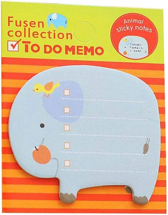 Sticky Notes, 8-Packs Self Sticky Notes, Creative Self-Stick Notes Colorful Super Sticky Notes, Memo Notes for Students, Home, Office -Easy Post and Use (Elephant)