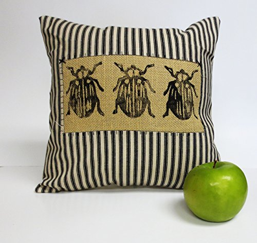 Block Print Beetle Insect Pillow