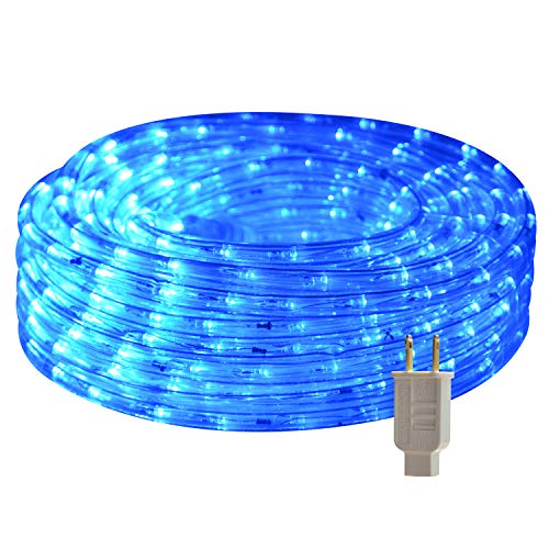 LED Rope Lights, 26.3ft Flat Flexible Light Strip, 2500K Blue, Water Resistant for Both Indoor/Outdoor Use, Inter-Connectable, UL Certified, Decorative Lighting for Any Location.