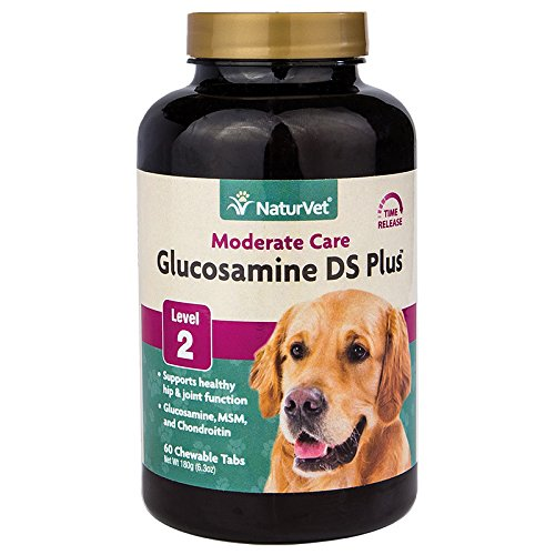 NaturVet - Glucosamine DS Plus - Level 2 Moderate Care - Supports Healthy Hip & Joint Function - Enhanced with Glucosamine, MSM & Chondroitin - for Dogs & Cats - 60 Chewable Tablets