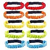 10 PCS 3 Legged Race Bands,5 Colors Elastic Tie Rope
