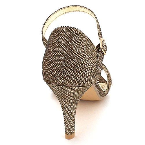 Diamante Londres Sandales Mariage Brillant Dames Marron Taille Soir Cristal Aarz Mariée Partie Prom Haut De Chaussures Travestissement Talon Z5xHXUHwq