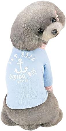 GLZKA Traje del Animal doméstico para la Camisa del Perro Algodón Casual Sailor Fashion Cómodo Gato Transpirable Ropa para Perros Primavera y Verano,Blue,XL: Amazon.es: Hogar