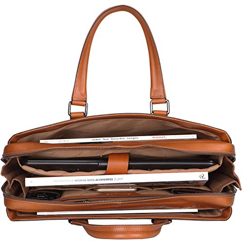 """Banuce Italian Leather Briefcase for Men and Women Business Travel Work Tote Bag Attach Case U-zip 14"""" Laptop Organizer by Banuce (Image #5)"""