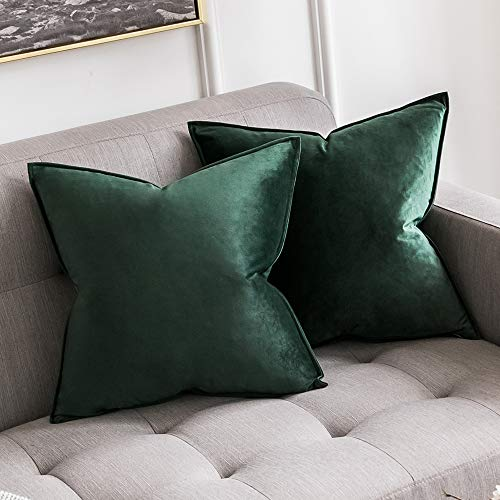 MIULEE Pack of 2 Decorative Velvet Throw Pillow Cover Soft Dark Green Pillow Cover Soild Square Cushion Case for Sofa Bedroom Car 18x 18 Inch 45x -