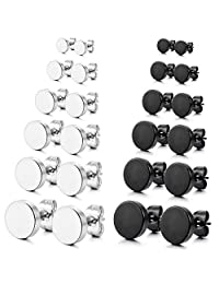 MOWOM Silver Tone Black 3~10mm Stainless Steel Stud Earrings Plugs Tunnel Illusion Round