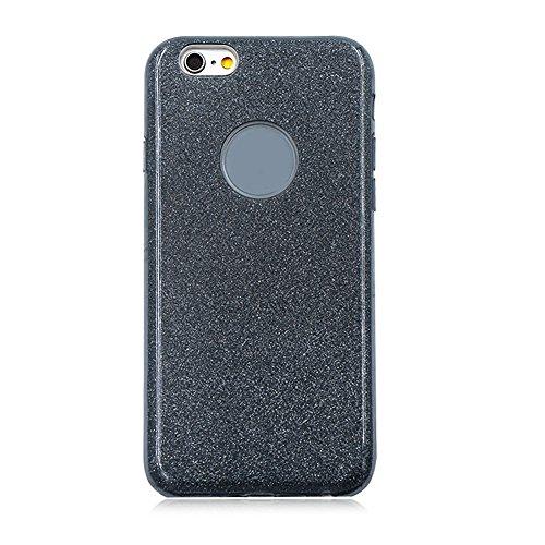 für iPhone 7 Hybrid 3 in 1 Einzigartig Hart Handyhülle, für iPhone 7 Rüstung Stoßfest Hülle, Herzzer Luxus Bling Glitzer Schutzhülle [Hard PC + Glänzende Farbe Aufkleber Innere Schicht + Weiche TPU] D