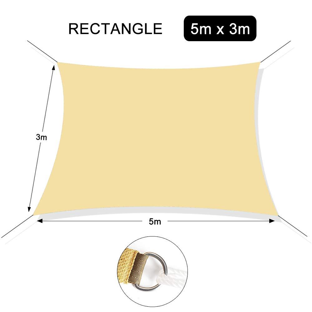 Chihee Vela Parasole Blocca UV 5 x 3 m Rettangolare Tenda Parasole 180GSM HDPE Parasole antimuffa Tendone con 2 m Fune Libera per Aria Aperta Giardino Patio Piscina Area Barbeque