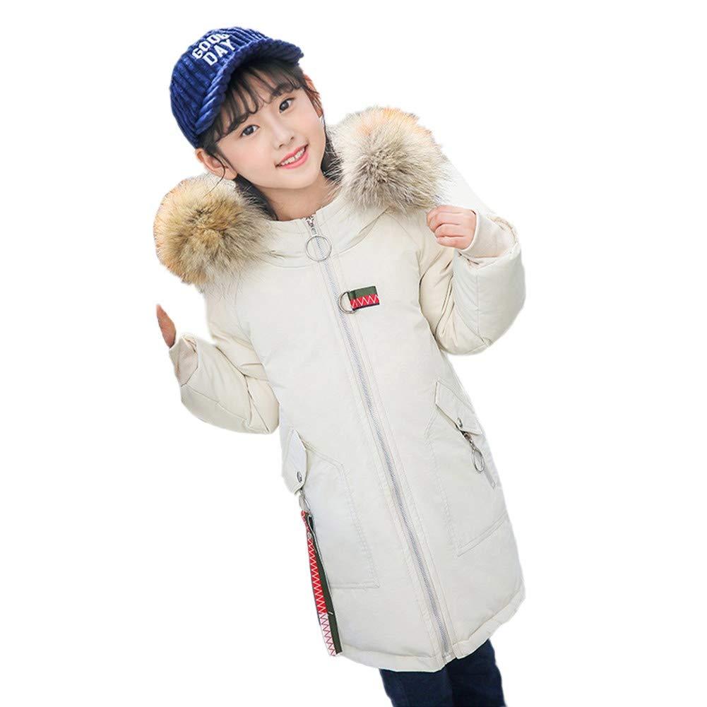 blanc 150cm RSTJ-Sjc Broderie Enfants Hiver Unisexe Doudoune épaissir col de Fourrure Capuche Outwear Chaud Coupe-Vent