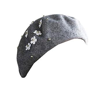 84990ac350d99 Sombrero Boina Invierno Caliente Boinas Vasca Boina Francesa para Mujeres  Niñas Gris  Amazon.es  Deportes y aire libre